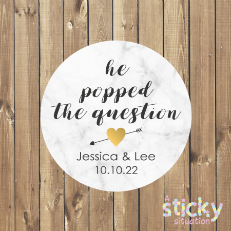 Personalised 'He Popped the Question' Stickers - Marble Design